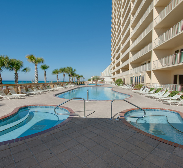 Pool and hot tub at Gulf Crest Condominiums  in Panama City Beach Florida
