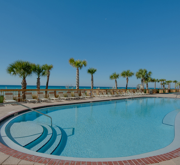 Huge pool area at Gulf Crest Condominiums  in Panama City Beach Florida