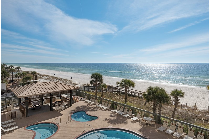 Great view of the pool and beach at Gulf Crest in Panama City Beach Florida