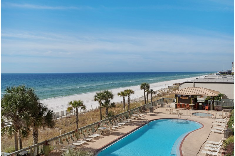 View of the pool from a balcony at Gulf Crest in Panama City Beach