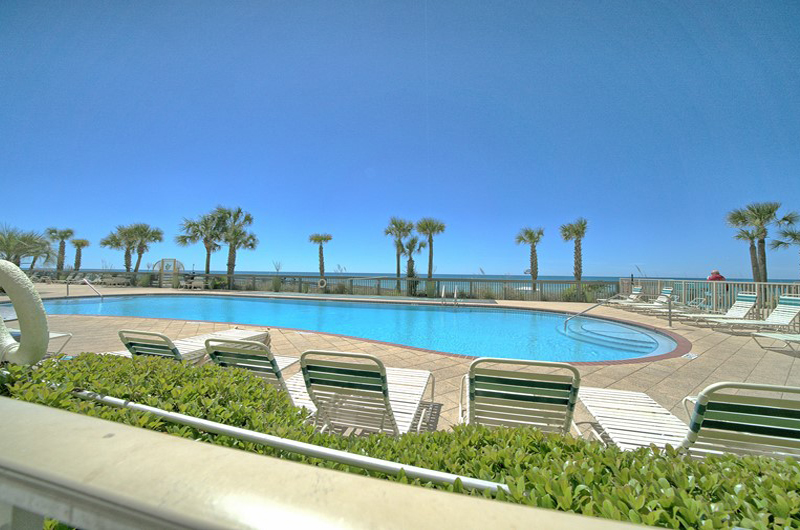 Relaxing pool area at Gulf Crest Condominiums in Panama City Beach Florida