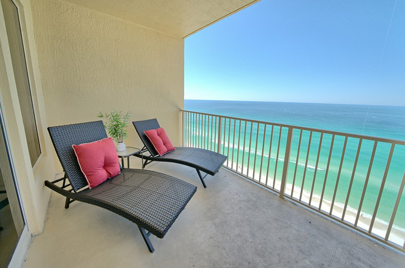 Relax on the balcony and enjoy the view at Gulf Crest Condominiums in Panama City Beach Florida