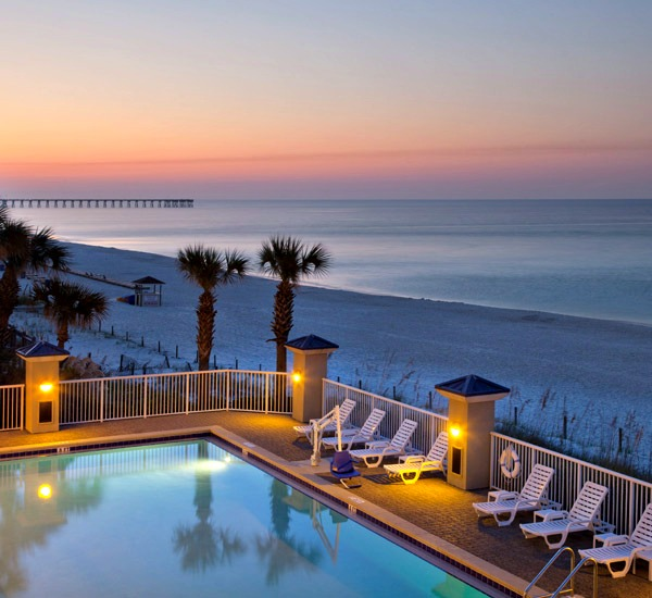 Beachfront pool at Holiday Inn Club Vacations in Panama City Beach Florida