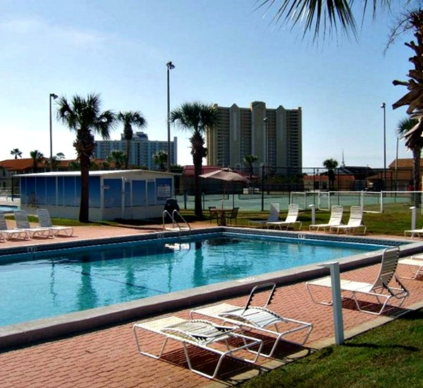 View of outdoor pool at Horizon South in Panama City Beach Florida