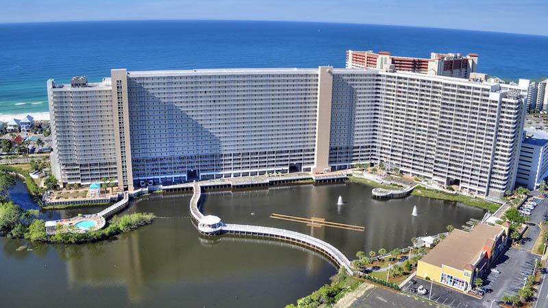Aerial view of the lake at Aerial view of Laketown Wharf in Panama City Beach Florida