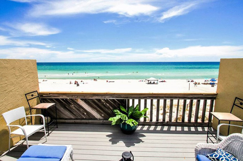 Enjoy a view of sand and waves from Largo Mar in Panama City Beach FL
