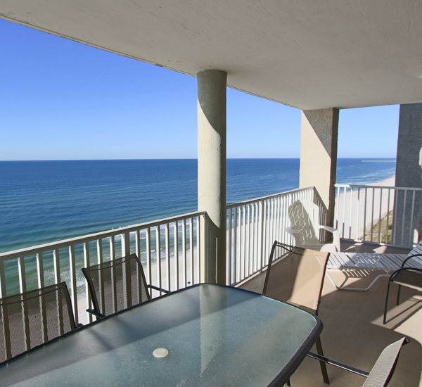 This Gulf-front balcony at Long Beach Resort Panama City is the perfect spot to enjoy drinks and alfresco meals.