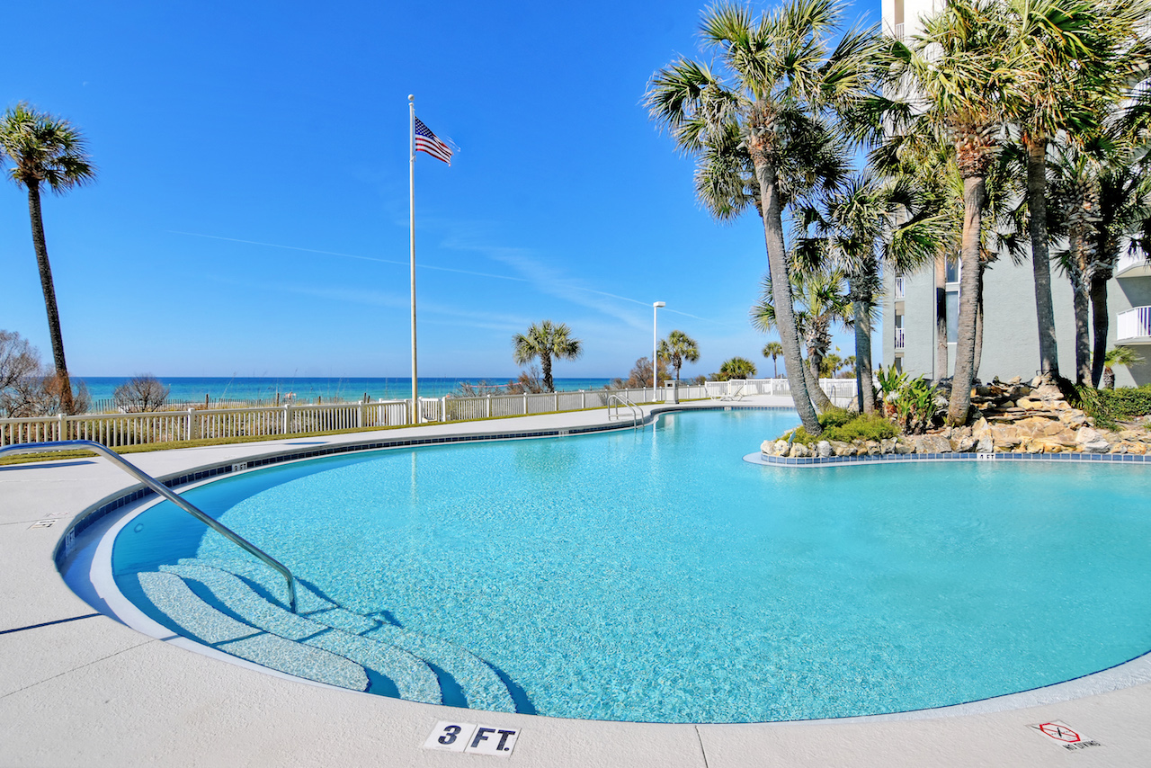 You will be in love with this tropical pool at Long Beach Resort Panama City Beach FL