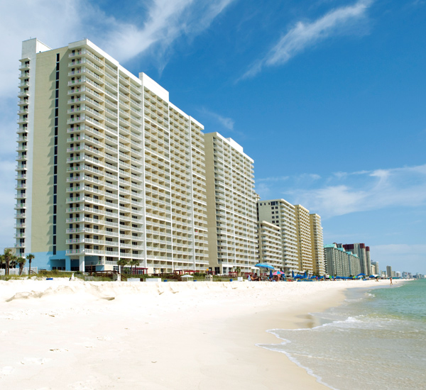 Beachside exterior view at Majestic Beach Resort in Panama City Beach FL