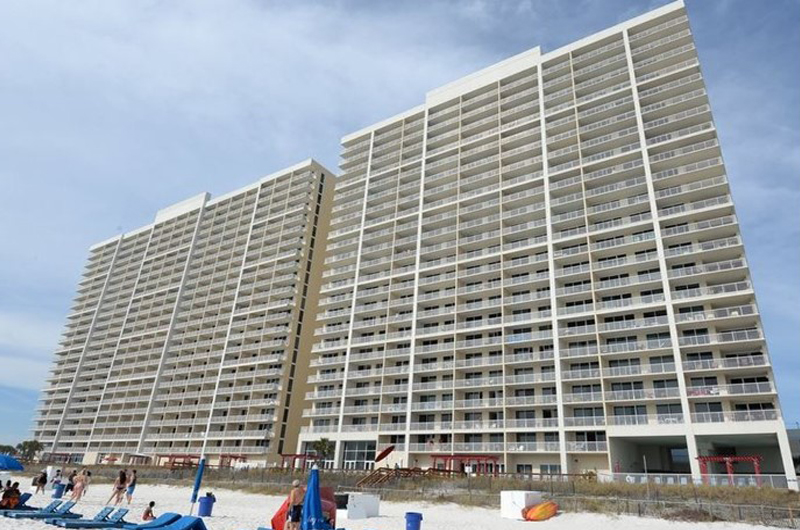 View from the beach of Majestic Beach Resort in Panama City Beach FL