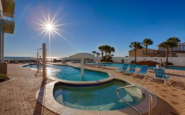 Full sun on the huge pools at Majestic Beach Resort in Panama City Beach FL