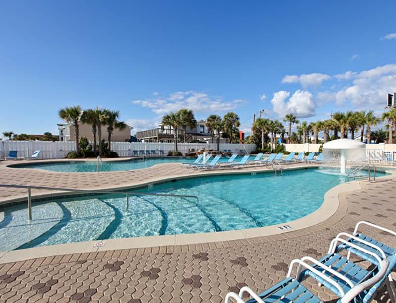 Huge pool area at Majestic Beach Resort in Panama City Beach FL