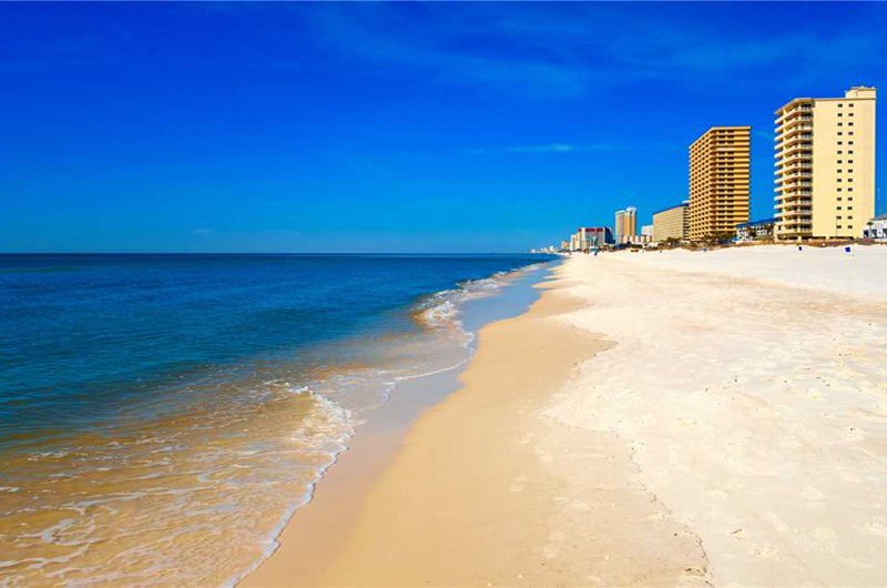 Stroll the white sand beach from your unit at Marisol in Panama City Beach Florida