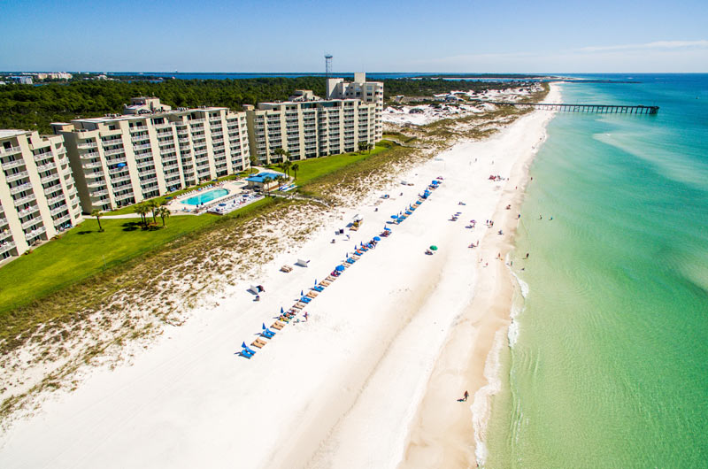 Aerial view of Moonspinner Condominiums in Panama City Beach FL