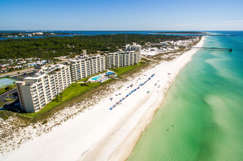Aerial view of beach at Moonspinner in Panama City Beach FL