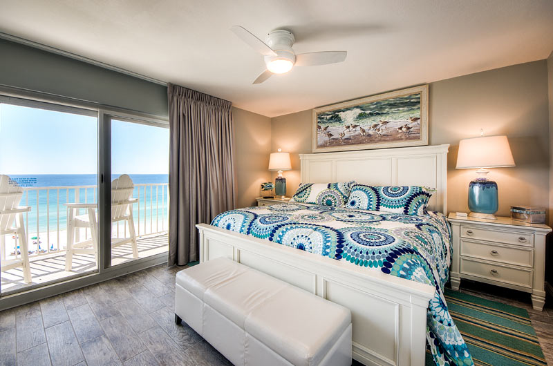 Master bedroom overlooking beach at Moonspinner in Panama City Beach FL
