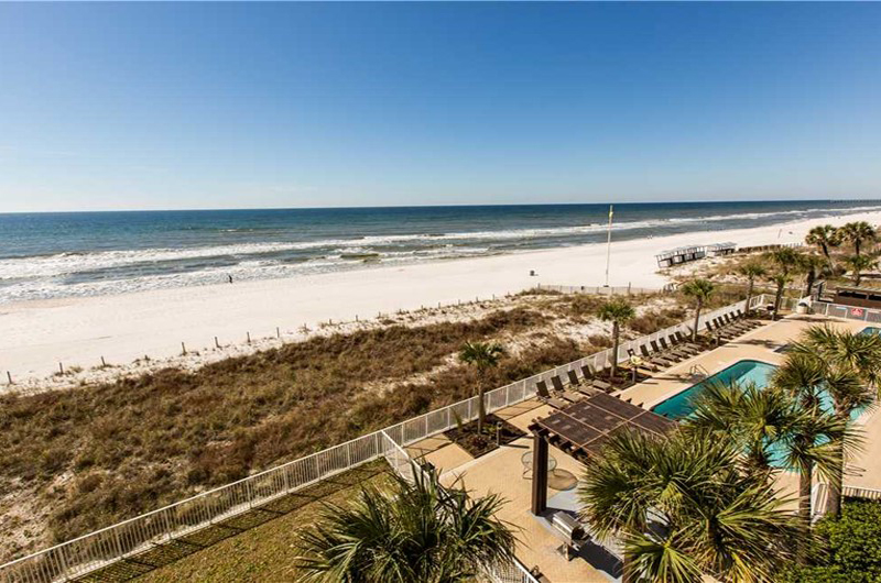 View the Gulf and pool area from Ocean Villa in Panama City Beach FL