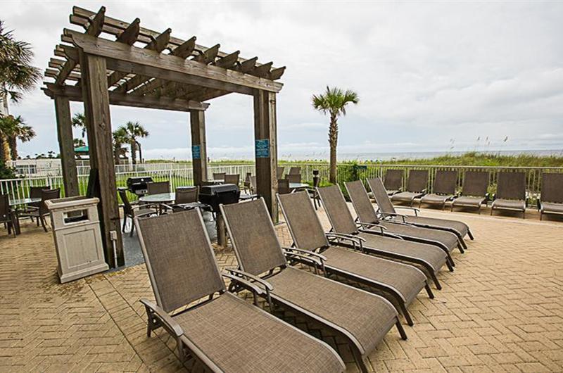 Large pool deck at Ocean Villa in Panama City Beach FL