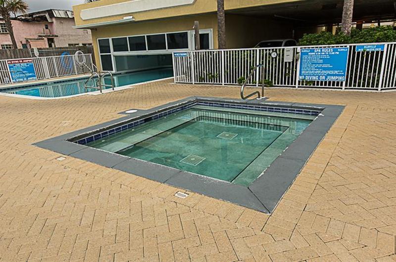 Large hot tub for relaxing at Ocean Villa in Panama City Beach FL