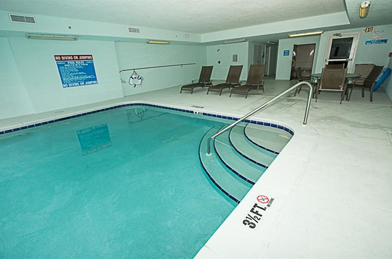 Enjoy the indoor pool all year long at Ocean Villa in Panama City Beach FL