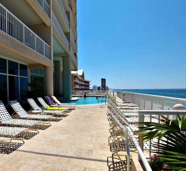 Large pool deck at Palazzo Resort Condominiums in Panama City Beach Florida