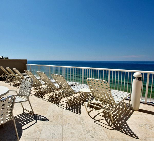 Pool deck overlooking the beach at Palazzo Resort Condominiums in Panama City Beach Florida