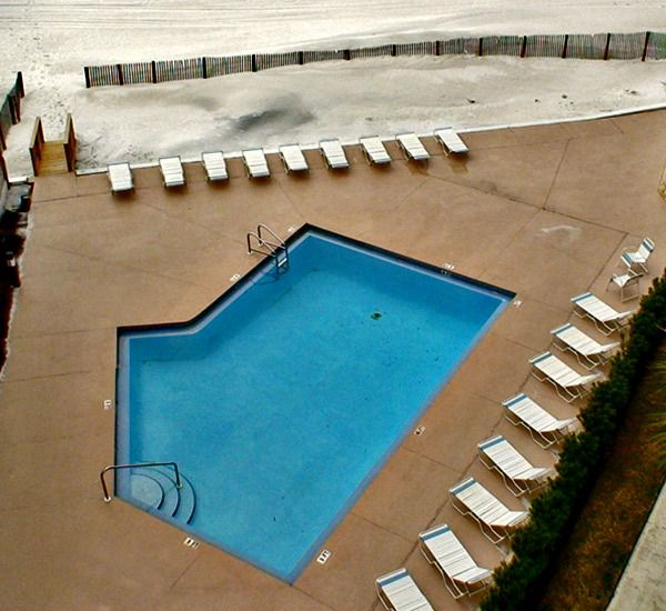 Aerial view of the pool and sundeck at Pelican Walk Panama City