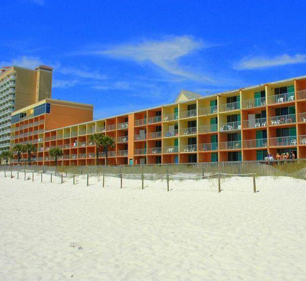 Beach view of Seahaven Beach Hotel in Panama City Beach Florida