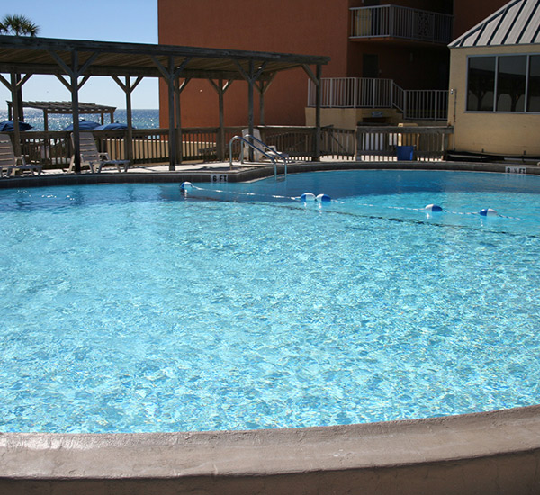 Pool view at Seahaven Beach Hotel in Panama City Florida