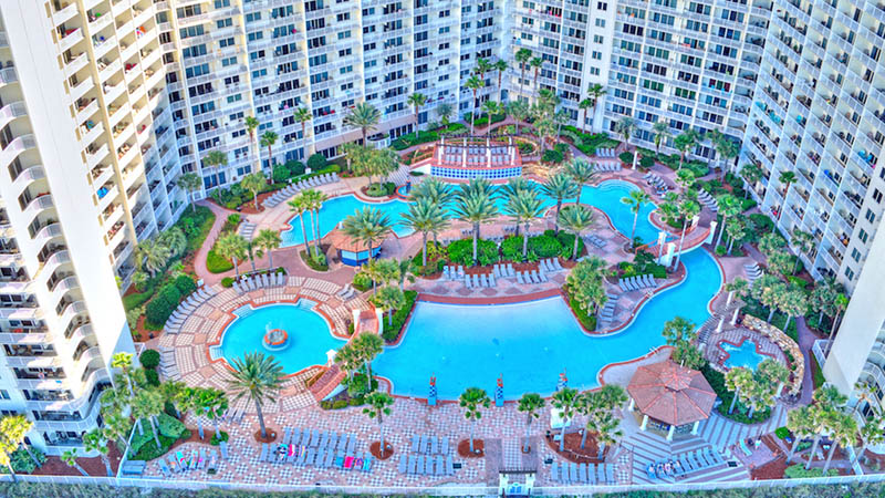 This is the amazing pool and deck area at Shores of Panama Panama City Beach FL