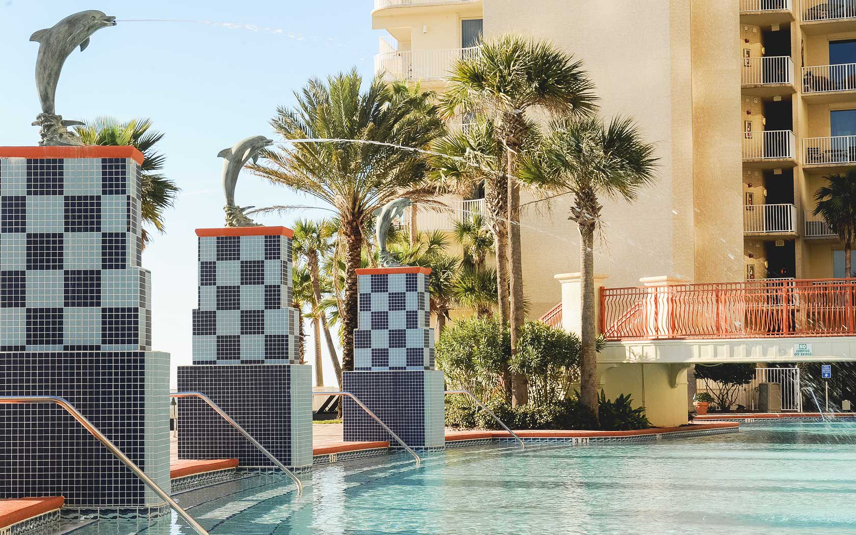 Relax in the huge pool that is directly on the Gulf at Shores of Panama Panama City Beach FL