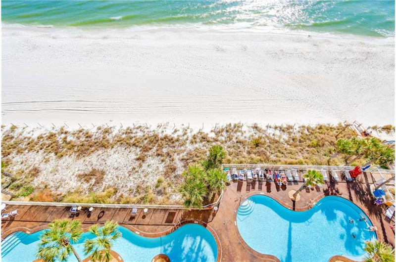 Birds eye view of the pool and beach at SPLASH! in Panama City Beach Florida