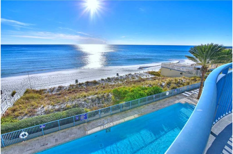 Enjoy the pool and beach view from your balcony at Sterling Breeze in Panama City Beach Florida