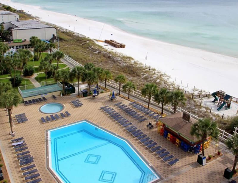 Wonderful view of the beach and pool at Summit Beach Resort in Panama City Beach Florida