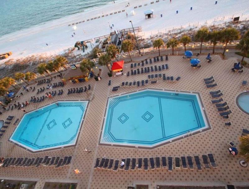 Birdseye view of the pool at Summit Beach Resort in Panama City Beach Florida