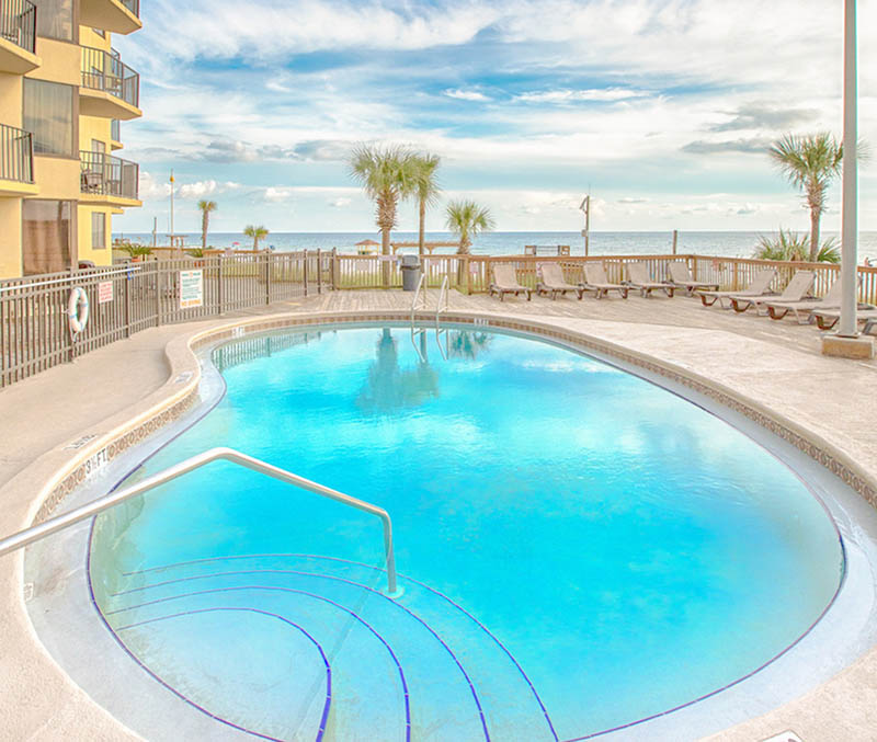 Spend you days floating in the lovely poof and watching waves roll in at Sunbird Beach Resort in Panama City Beach Florida