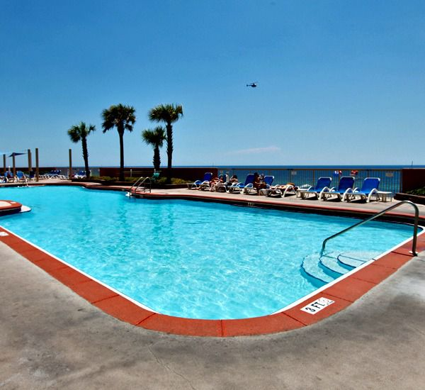 tons of room around the large pool at Sunrise Beach Condominiums   in Panama City Beach Florida