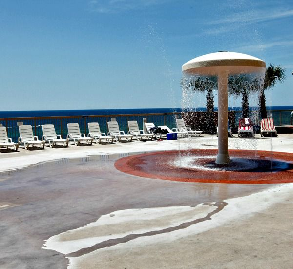 The kids will enjoy the splash area at Sunrise Beach Condominiums   in Panama City Beach Florida
