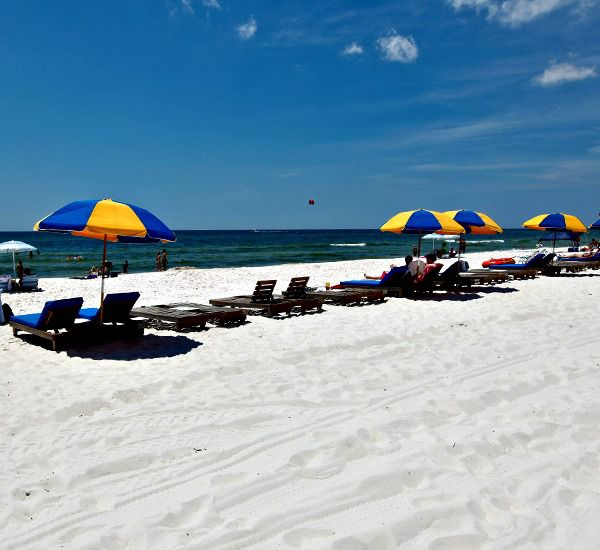 Sugar white sands directly in from of Sunrise Beach Condominiums in Panama City Beach Florida