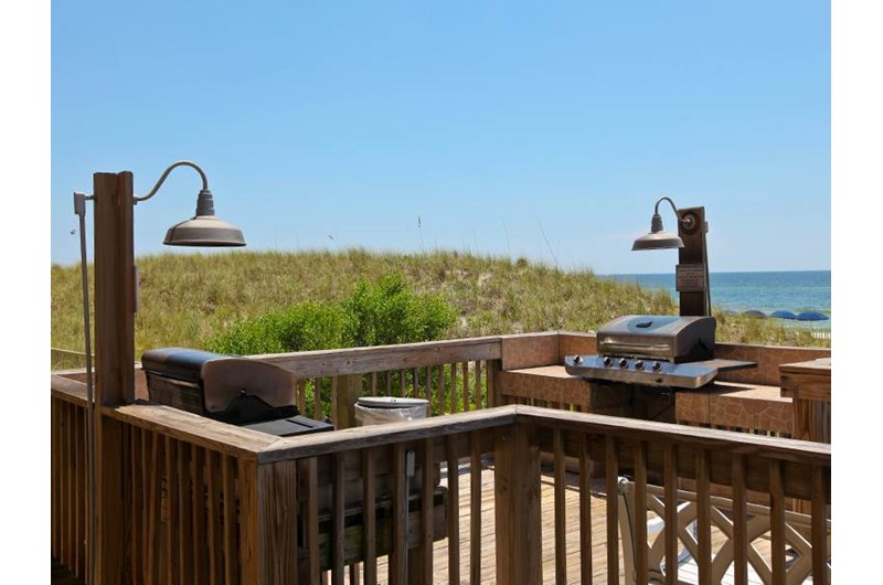 handy grill area at Sunrise Beach Condominiums  in Panama City Beach Florida