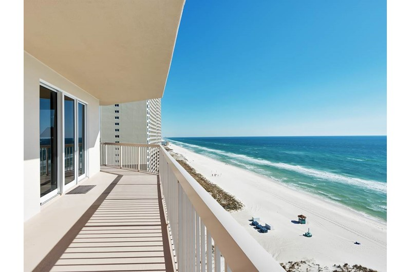 Long view of the shoreline from Sunrise Beach Condominiums  in Panama City Beach Florida