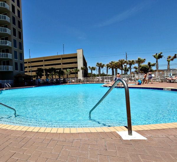 Tidewater Beach Resort in Panama City Beach Florida features 2 lagoon-sized swimming pools each with adjoining hot tub.