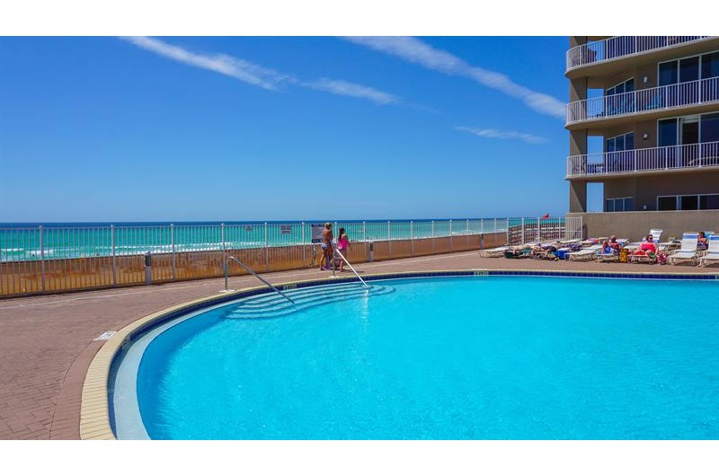 One of two outdoor pools that are directly on the beach at Tidewater Beach Resort in Panama City Beach Florida