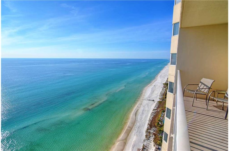 See down the coastline fo the Gulf from Tidewater Beach Resort in Panama City Beach Florida