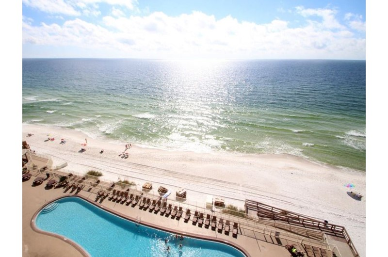 Enjoy a view of the Gulf and pool at Treasure Island in Panama City Beach Florida