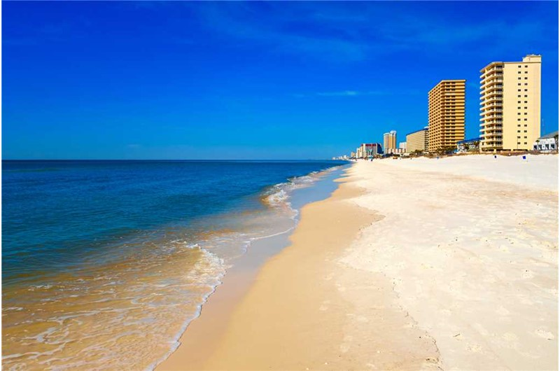 Enjoy a walk down the beach right in front of Treasure Island in Panama City Beach Florida