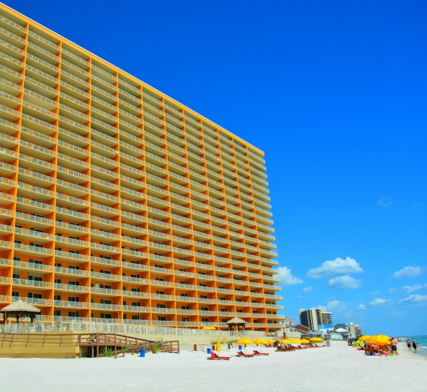 Exterior view of beachfront Treasure Island in Panam City Beach
