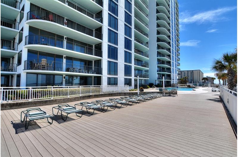 There is plenty of seating close to the pool at Watercrest Condominiums in Panama City Beach Florida