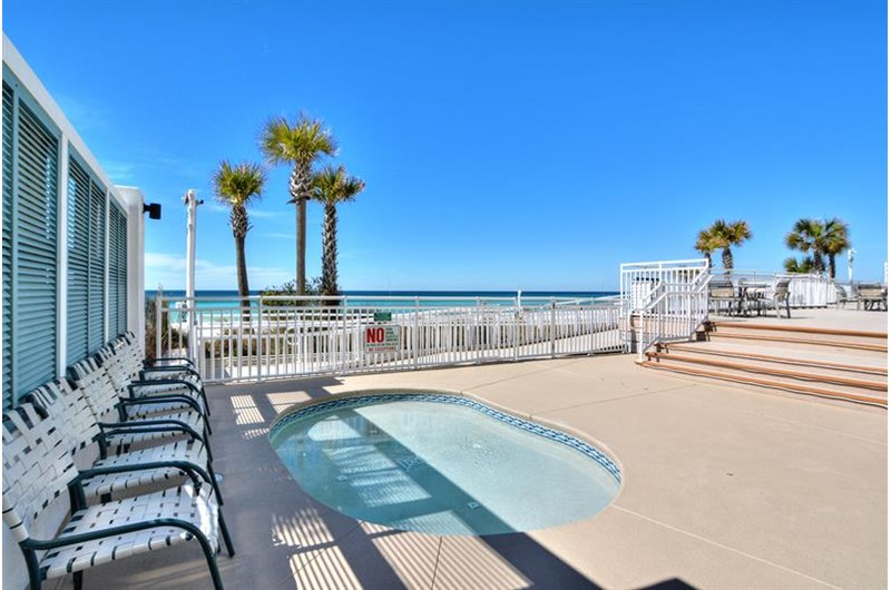 Take the stress away in the hot tub at Watercrest Condominiums in Panama City Beach Florida