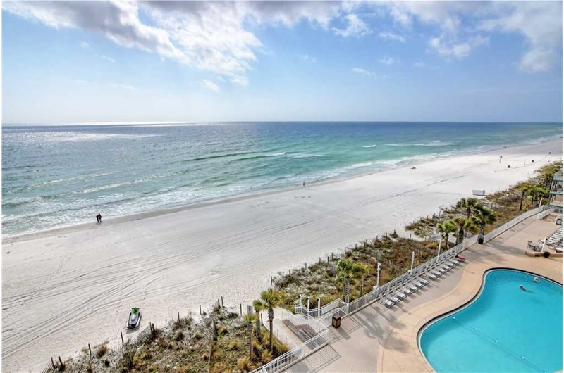 View the pool and Gulf at Watercrest Condominiums in Panama City Beach Florida